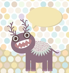 Polka dot background pattern Funny cute monster on vector image