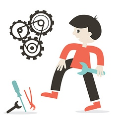 Repairing Icon with Man - Tools and Cogs vector