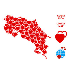 romantic costa rica map collage of hearts vector image