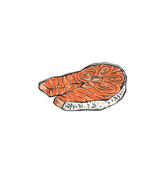 salmon steak or piece red fish fillet sketch vector image