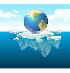 Save the earth theme with earth on ice vector image