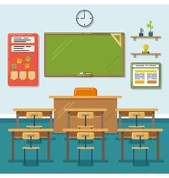 School classroom with chalkboard and desks vector