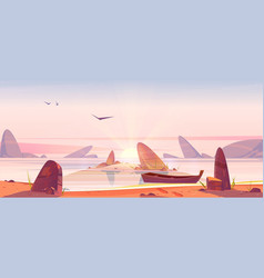 sea beach with rocks and boat at sunrise vector image