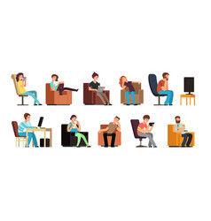 sedentary man and woman on couch watching tv vector image