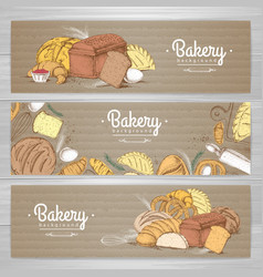 Set of retro bakery banners on cardboard bakery vector