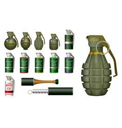 set realistic hand grenade or hand smoke vector image