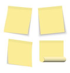 set yellow stickers papers note paper vector image