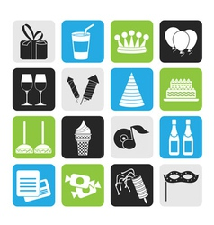 Silhouette birthday and party icons vector image