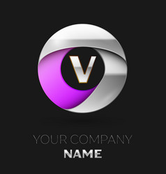 silver letter v logo in the silver-purple circle vector image