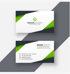 simple green geometric business card design vector image