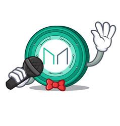 Singing maker coin mascot cartoon vector