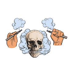 Smoke coming out skull electronic cigarettes vector