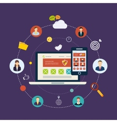 Social network and teamwork vector image