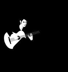 spanish guitarist playing flamenco on black vector image