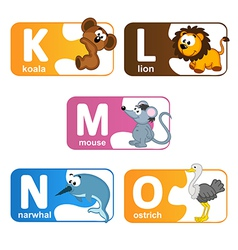 Stickers alphabet animals from K to O vector