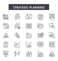 Strategic planning line icons signs set vector