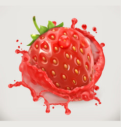 Strawberry juice fresh fruit 3d icon vector