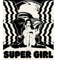Super girl hand drawn girl with silhouettes vector