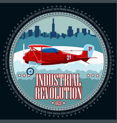 t-shirt or poster red airplane vector image