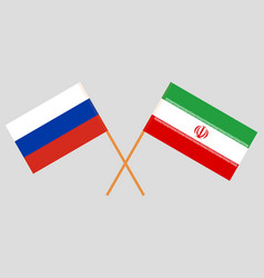 The iranian and russian flags vector