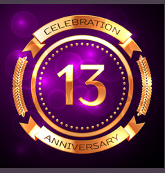 thirteen years anniversary celebration with golden vector image