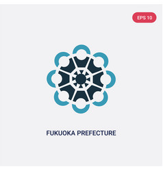Two color fukuoka prefecture icon from signs vector