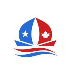 usa and canada boat logo vector image