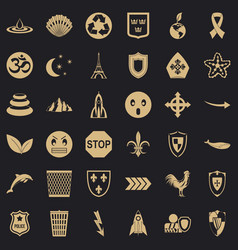 Warning emblem icons set simple style vector