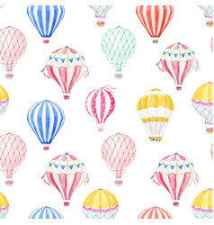 Watercolor air baloon pattern vector