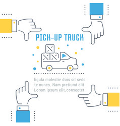Website banner and landing page pick-up truck vector