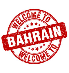 Welcome to bahrain red round vintage stamp vector