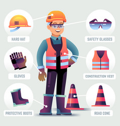 Worker with safety equipment man wearing helmet vector