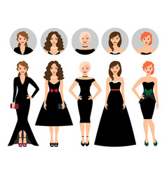 Young woman in different black dresses vector