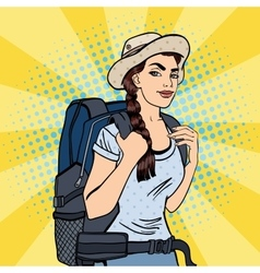 Young Woman with Backpack Pop Art vector image vector image
