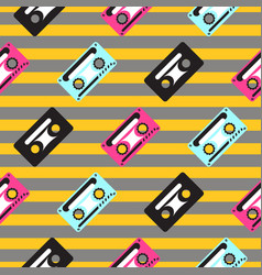 audio casette striped seamless pattern vector image