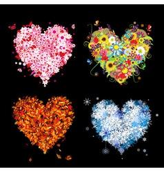 Four seasons heart - spring summer autumn winter vector image vector image