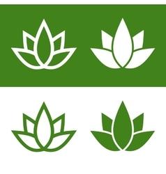 Green Lotus Plant Icon Set Logo vector image