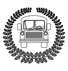 silhouette crown of leaves with school bus vector image