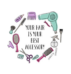 accessories for the hairdresser s motivational vector image