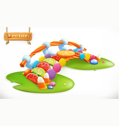 bridge of candies sweet land fruit candy 3d icon vector image