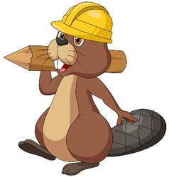 Cute cartoon beaver wearing safety hat and holding vector image vector image
