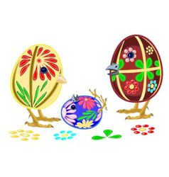 Happy Easter eggs family vector image