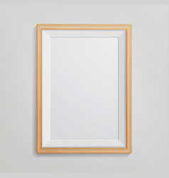 realistic photo frame 3d empty wood blank vector image vector image