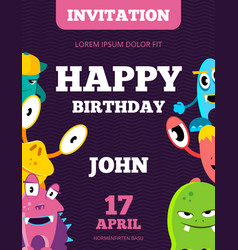 children happy birthday invitation card vector image