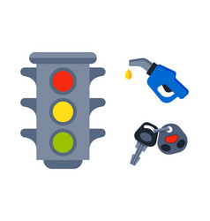 Traffic lights isolated on white background and vector