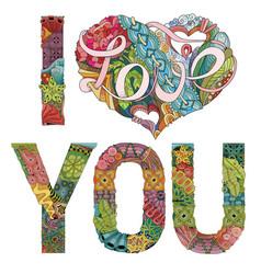 words i love you decorative zentangle vector image vector image