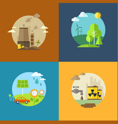 ecology and pollution flat banners set with icons vector image vector image