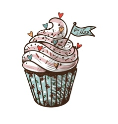 hand drawn of cupcake with label For mom vector image