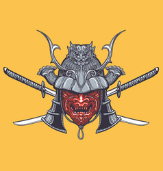 japanese samurai mask with crossed swords vector image