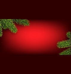 red christmas background with spruce branches vector image